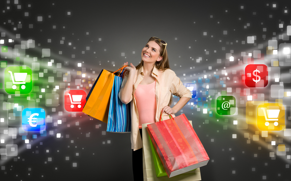 shopping woman surrounded by icons of e-commerce